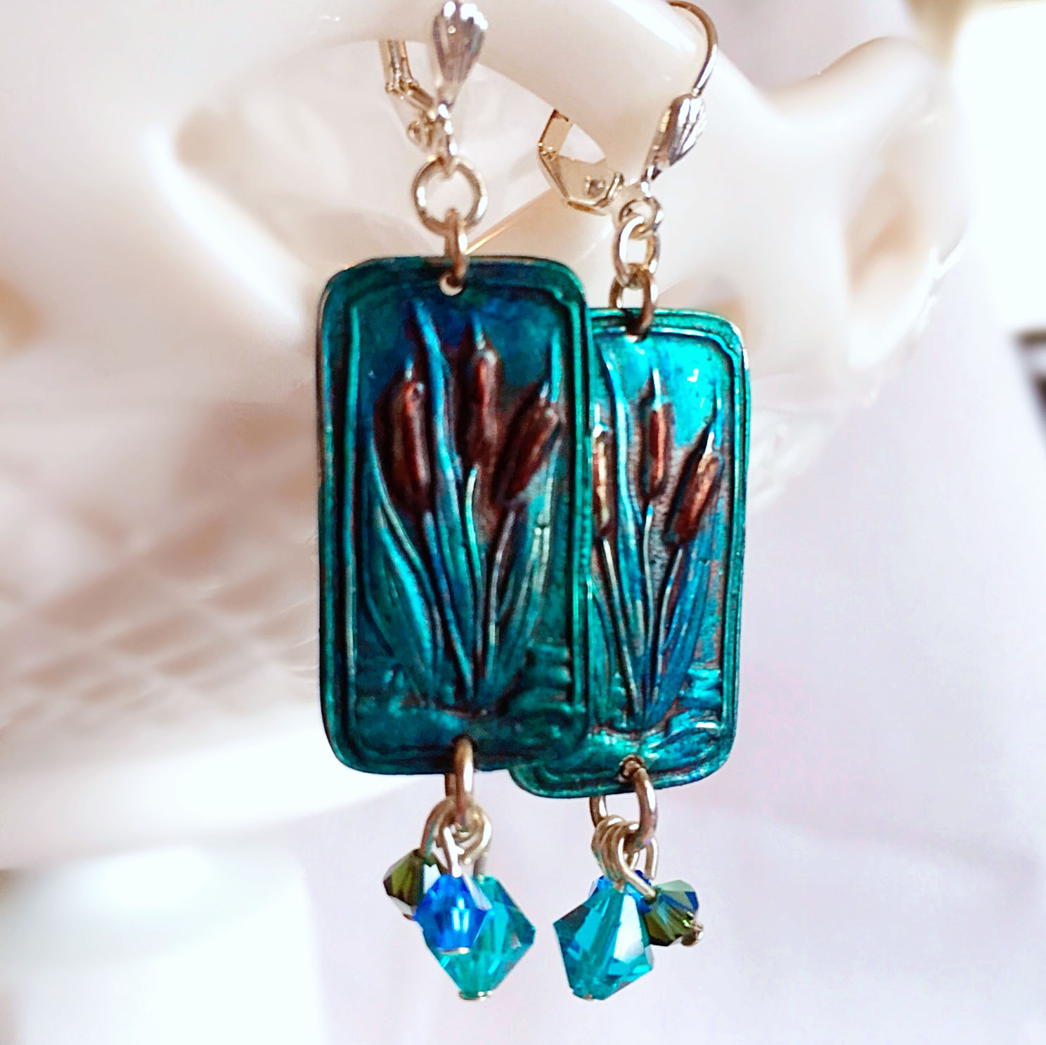 Teal Cattail Earrings