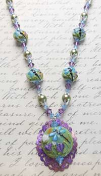 LOmara Creative Filigree and Glass Necklace